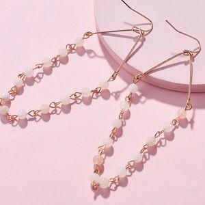 EARRINGS   White Jade & Rose Quartz Dangle